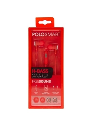 Polo Smart Fs11 Kulakiçi Kablolu Kulaklık Kırmızı Kırmızı